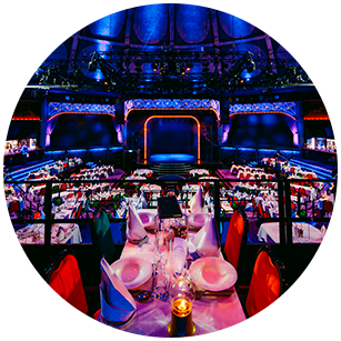 The Circus Hall ready for dinner & party